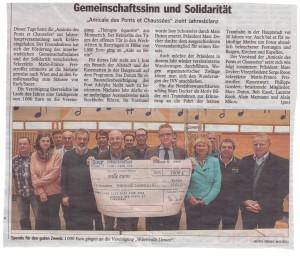 Amicale des Ponts et Chaussées spendet 1000 € an Wäertvollt Liewen asbl
