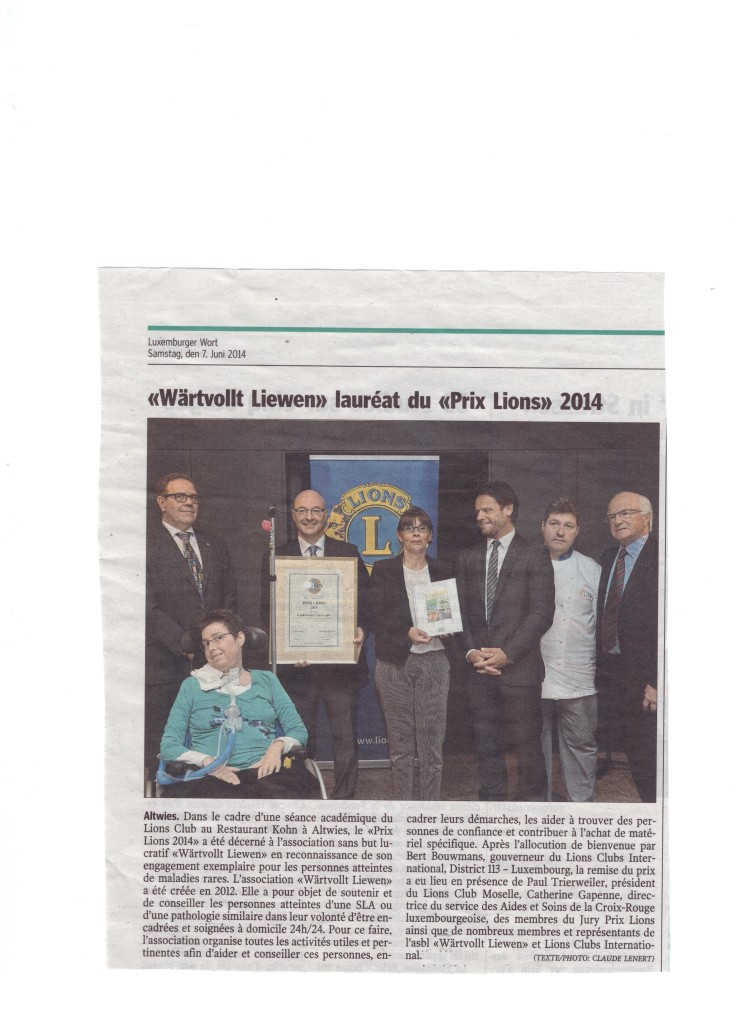 LIONS Club International District 113 verleiht Wäertvollt Liewen asbl den Prix LIONS 2014
