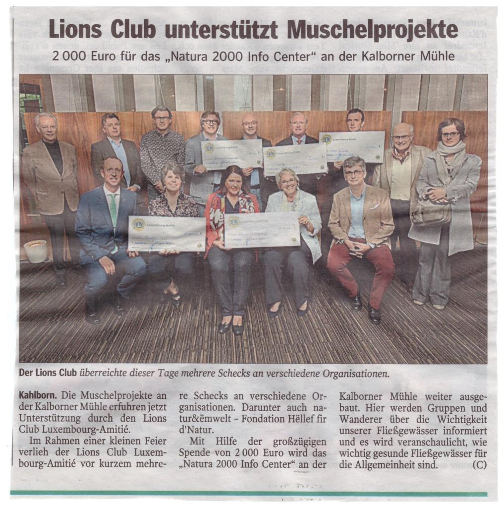 Lions Club Amitié unterstützt Wäertvollt Liewen asbl mit einer Spende von 2000 €