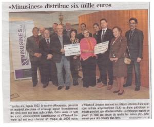 Minusines SA spendet 3000 € an Wäertvollt Liewen asbl